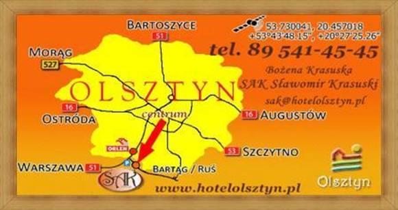 Dojazd główny Hotel Olsztyn Noclegi Restauracja SAK - zobacz mapę.