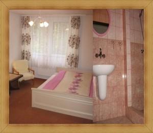 SAK Hotel dla pary Olsztyn pokój z łożem małżeńskim i łazienką.