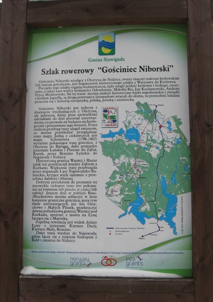 Tablica informacyjna w Bartągu okolica Olsztyna