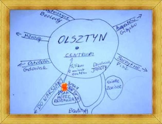 Szkic mapka dojazdu do Hotelu SAK Olsztyn Restauracja