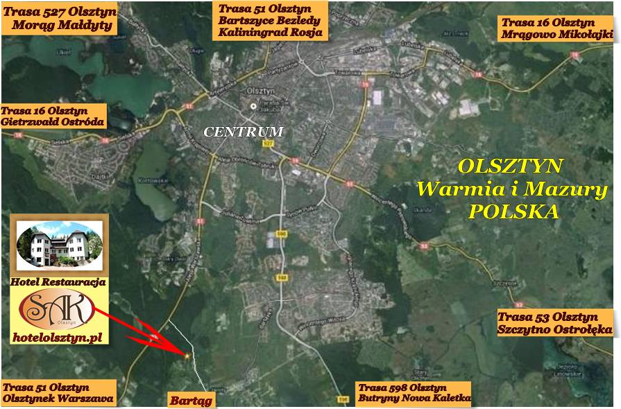 Mapa Hotele w Olsztynie i okolicy Hotel Restauracja SAK