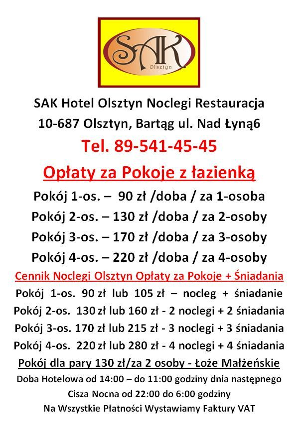 Cennik Pokoi Opłaty za Noclegi SAK Hotel Olsztyn
