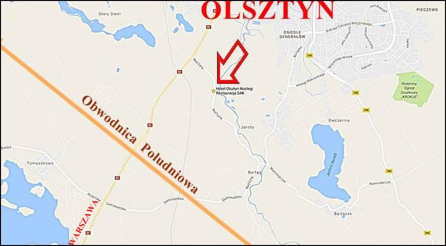 Olsztyn Mapa Obwodnica Południowa SAK Hotel Blisko