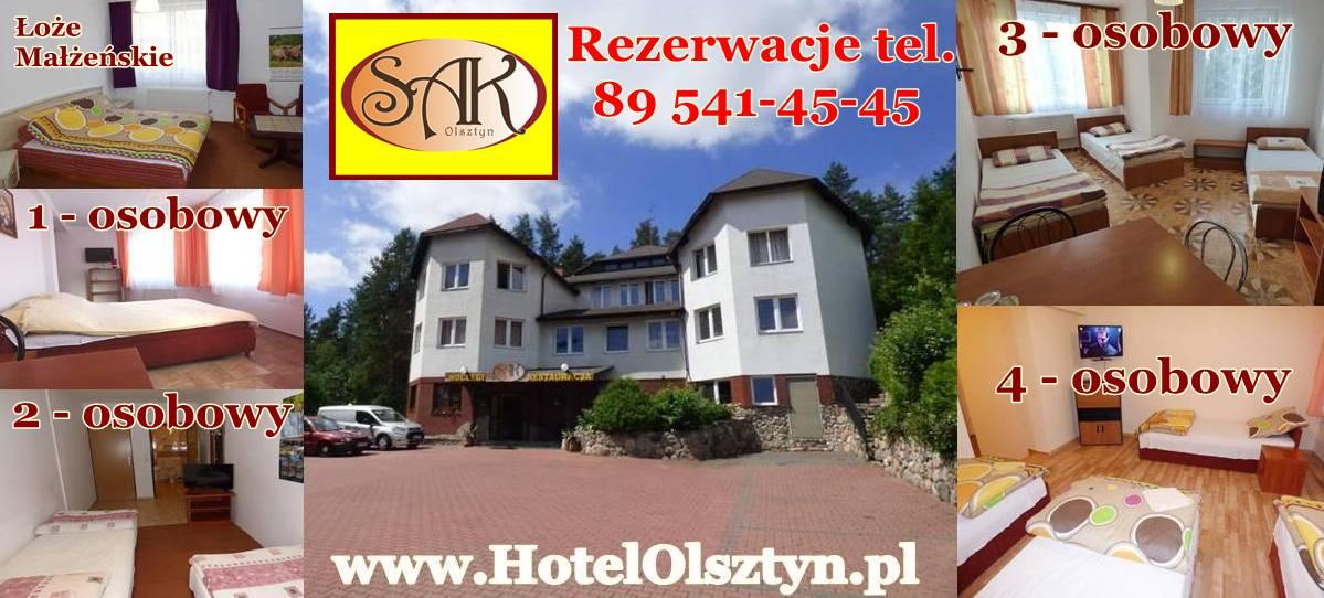 Wolne Pokoje Noclegi Olsztyn Hotel SAK przykładowe pokoje hotelowe 1, 2, 3, 4 osobowe na wynajem.